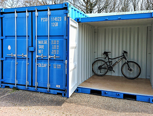 Mountain bike inside small container